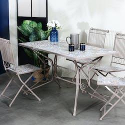Table de jardin carreaux de ciment bleu et taupe 140 cm GRENADE
