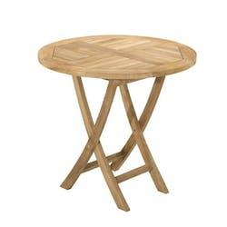 Table de jardin en Teck brut ronde pliante 80cm SUMMER