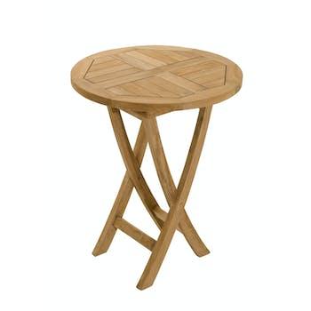 Table de jardin pliante ronde teck 60X60 SUMMER