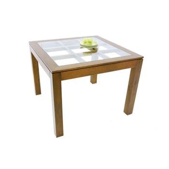Table de repas carrée Hévéa avec plateau verre posé sur quadrillage bois 100x100x76cm HELENA