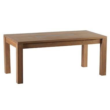 Table de repas Chêne ciré et métal patiné 180x90x76cm DARIO