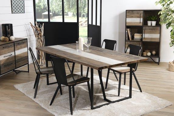 Table a manger en bois pieds metal de style contemporain