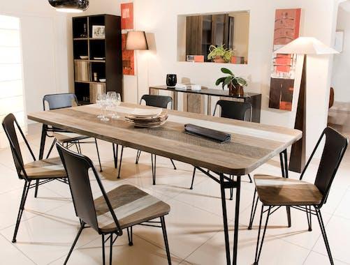 Table a manger bois pieds metal epingle de style contemporain