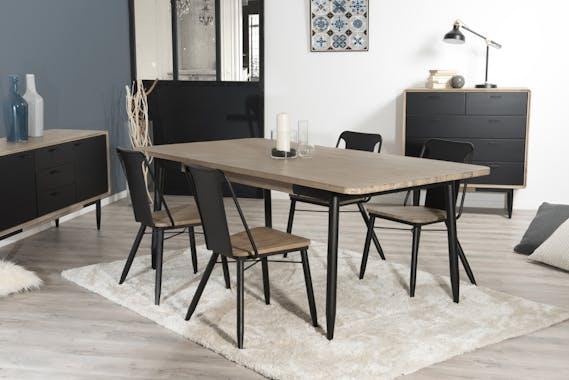 Table a manger rectangulaire en bois pieds metal style contemporain