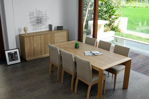 Table de Repas en Chêne massif naturel 200x95x76cm KUBICO