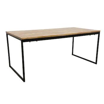 Table de Repas en Hévéa recyclé naturel et pieds métal 180x90x77cm LOFT