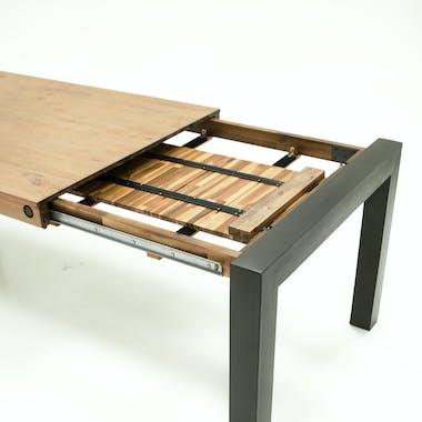 Table a manger extensible en bois et metal style industriel