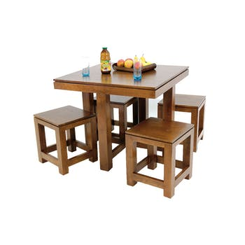Table de repas Hévéa 90x90x76cm et ses 4 tabourets HELENA