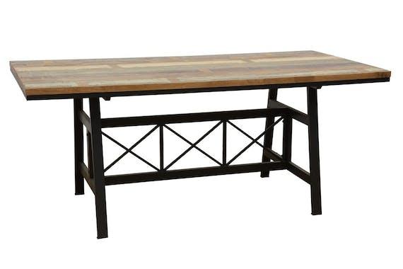 Table de Repas plateau en Hévéa recyclé coloré et pieds métal avec croisillons 180x90x76cm LOFT COLORS