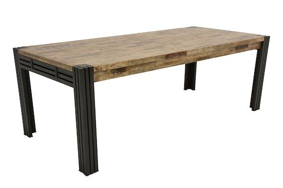 Table de repas rectangle extensible hévéa recyclé blanchi et métal noirci 220/300X100X76cm DOCKER