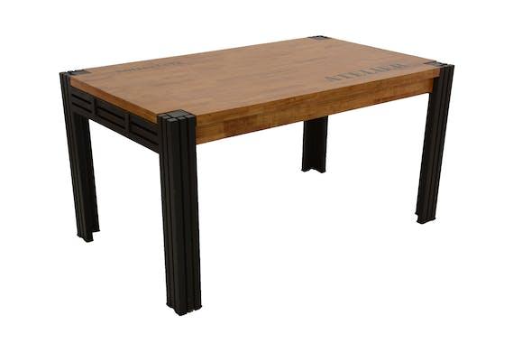 Table de repas rectangle extensible hévéa recyclé naturel et métal noirci 150/230X90X76cm DOCKER
