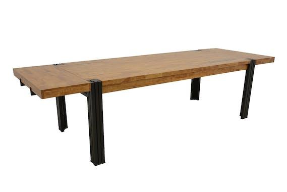 Table de repas rectangle extensible hévéa recyclé naturel et métal noirci 220/300X100X76cm DOCKER