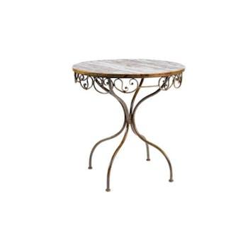 Table de repas ronde acacia et fer 90x76 JEANNE