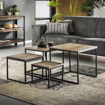 Table de salon carrée lamelles de teck recyclé grisé JAVA (lot de 4)