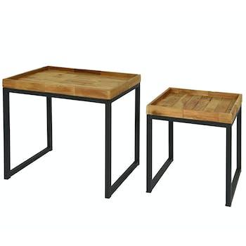 Table de salon gigogne bois d'acacia (lot de 2)