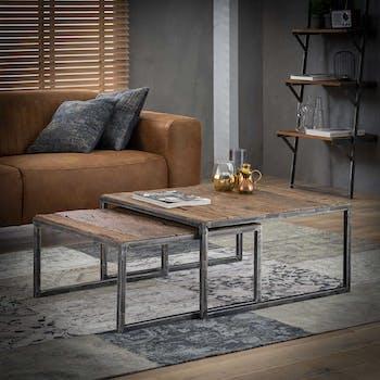 Table de salon gigogne bois recyclé carrée GM (2 pièces) OMSK