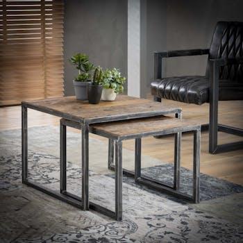Table de salon gigogne bois recyclé carrée PM (2 pièces) OMSK