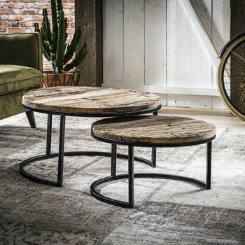 Tables basses gigognes en bois recycle et metal de style industriel