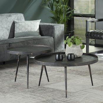 Table de salon ronde effet métal vieilli (2 pièces) RALF