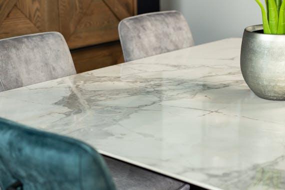 Table en céramique blanche carrée 140 cm FLORENCE