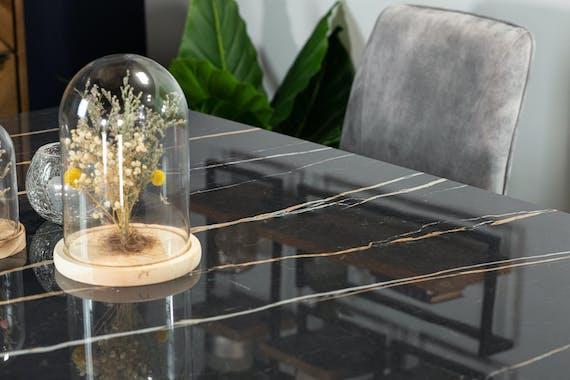 Table en céramique noire carrée 140 cm FLORENCE