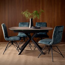 Table a manger extensible verre et metal pied mikado style contemporain