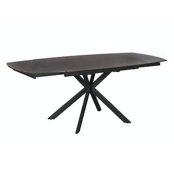 Table extensible verre gris foncé pied mikado 140-200 cm OTTAWA
