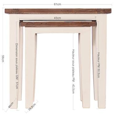 Table gigogne blanche bois recyclé BRISTOL