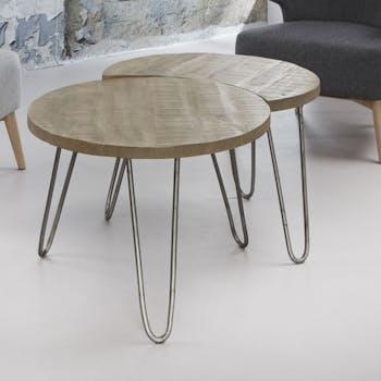Table gigogne bois de manguier blanc LUCKNOW (2 pièces)
