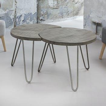 Tables basses gigognes en bois gris pieds metal de style contemporain