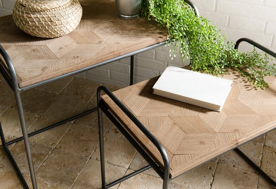 Table gigogne bois de sapin en marqueterie BOSTON (lot de 2)