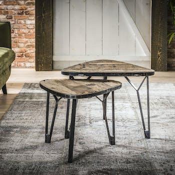 Table gigogne bois recyclé forme triangle (2 pièces) OMSK