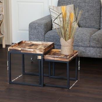 Table gigogne carrée en bois d'acacia recyclé (lot de 2)