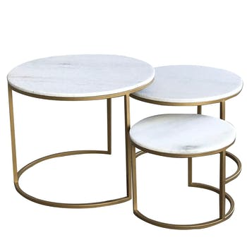 Table gigogne marbre blanc laiton (lot de 3) TORANO