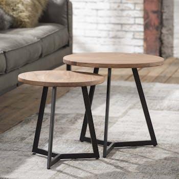 Table gigogne ronde bois d'acacia métal (2 pièces) TRIBECA