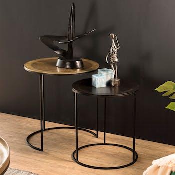 Tables basses gigognes rondes en metal dore et noir style contremporain