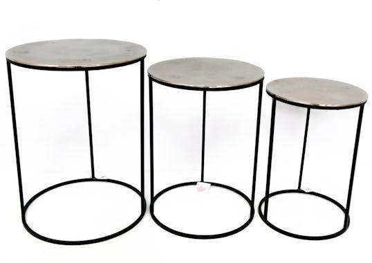 Table gigogne ronde plateau argenté (lot de 3)