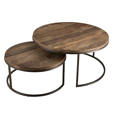 Table basse gigogne en bois recycle et metal de style contemporain