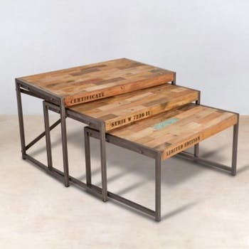 Table gigogne x3 bois recyclé 80x50 CARAVELLE