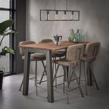 Table haute mange debout bois massif et metal style contemporain
