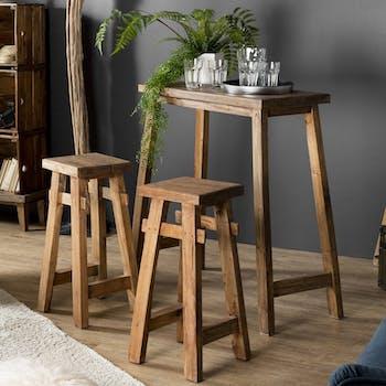 Table haute mange debout + 2 tabourets de bar bois style campagne