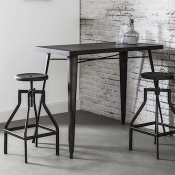 Table haute mange debout en metal noir style industriel