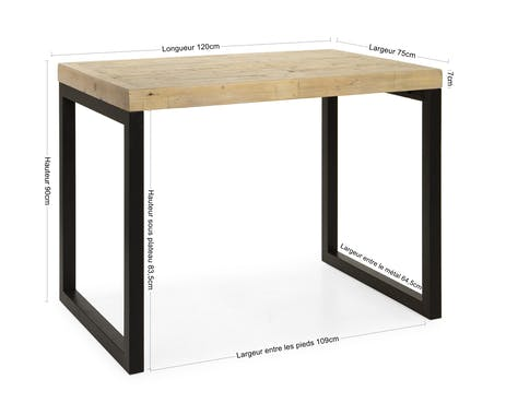 Table haute en bois recyclé 120 cm AUCKLAND
