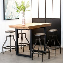Table haute mange debout extensible en bois recycle et metal style industriel