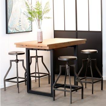 Table haute extensible bois recyclé 120-160 cm BRISBANE