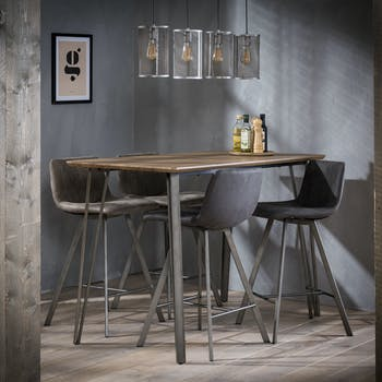 Table haute mange debout rectangulaire en bois metal style contemporain