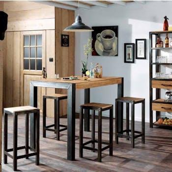 Table haute mange debout en metal et bois style industriel