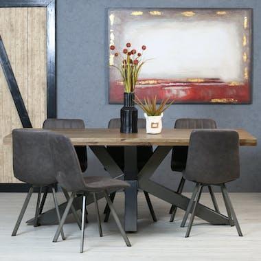 Table pied central bois de chêne et métal 200 cm HUDSON