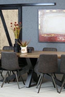 Table pied central bois de chêne et métal 240 cm HUDSON