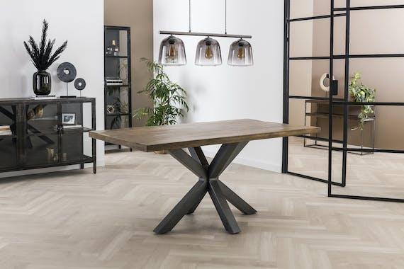 Table pied central bois de manguier 165 cm LUCKNOW
